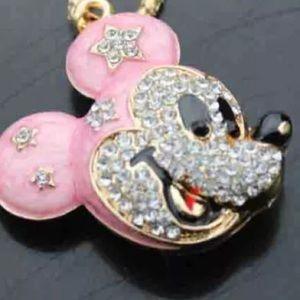 Mickey pink rhinestone necklace